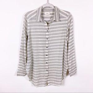 Lou & Grey | Gray & White Stripe Button Up Blouse